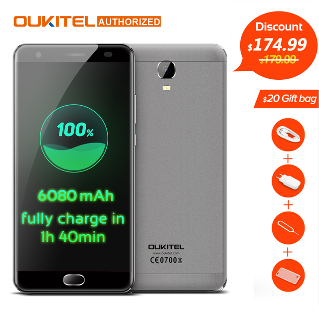 Oukitel K6000 плюс 4 г мобильный телефон 5.5 ''Android 7.0 MTK6750T Octa Core 1.5 ГГц 4 ГБ ОЗУ 64 ГБ ROM 8.0MP + 16.0MP 6080 мАч touch TD