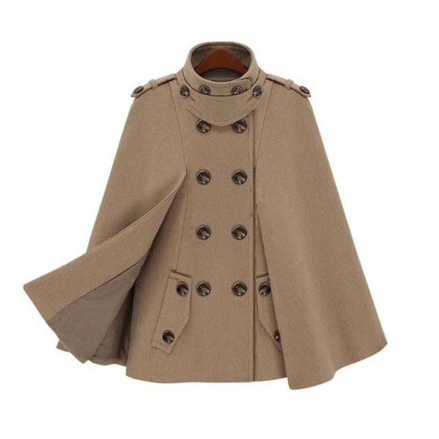 af5a51f277bf Vintage Women Woolen Winter Coats Double Breasted Wool Cloak Batwing Sleeve  Elegant Clothing Capes and Ponchos Female Jacket