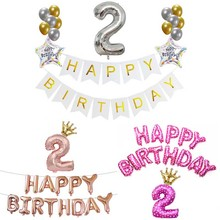 2 years old Number Balloons Kits 2nd Birthday Party Decorations Boy Girl I Am Two Paper Banner Supplies Bunting Garland