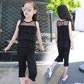 Niños Niñas Ropa de Verano 2016 Nueva Gasa En Capas Blusa y pantalones anchos de La Pierna Pantalones Capri 2 Unidades Chicas Ropa Set Negro Rosa rojo