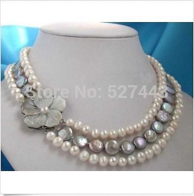 Wholesale fast Real pearl & coin pearl necklace&shell flower clasp (A0513)