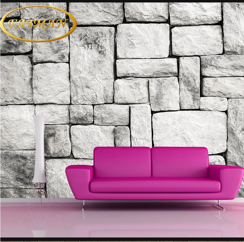 3D natur tapeten Grau Weiß Stein Ziegel Wand Retro l Wohnzimmer ...