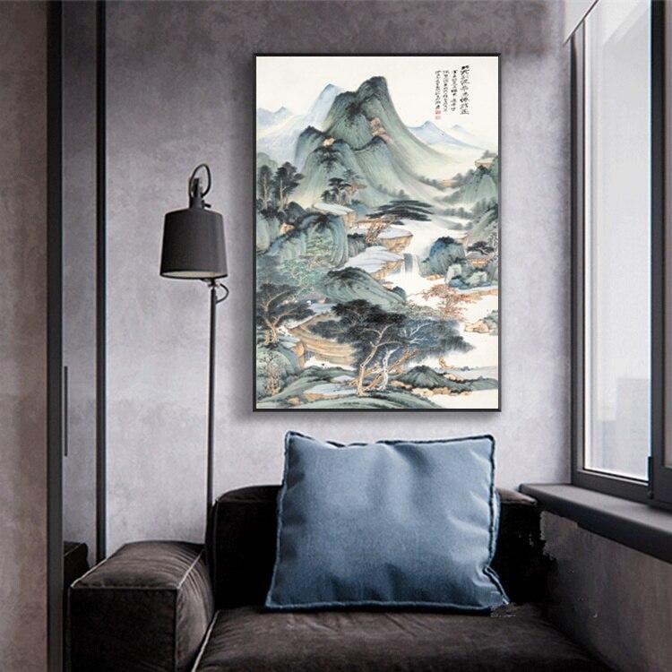 Zhang Daqian Čínská inkoustová malba HD Tisk na plátně Krajina Umělecká malba Obraz domů Obývací pokoj Obrazy
