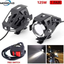 2 sztuk 125W U5 reflektory motocykla uniwersalny pomocniczy biała lampa LED motocykl reflektor akcesoria Moto DRL miejscu reflektory przednie na