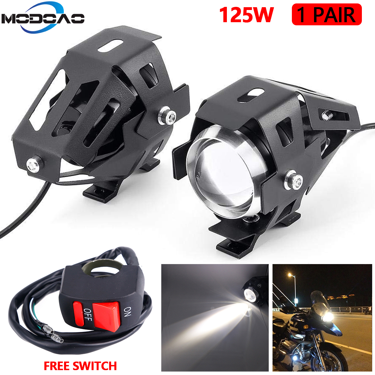 2PCS 125W U5 Motorcycle Headlights Universal Auxiliary White Lamp LED Motorbike Spotlight Accessories Moto DRL Spot Head Lights