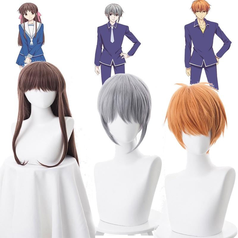 Japan Anime FRUITS BASKET Tohru Honda Souma Yuki Soma Kyo Cosplay Costume Wig Party Hair + wigs Cap+ No.