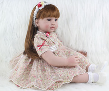 60cm Silicone Vinyl Reborn Baby Doll 24inch Princess Toddler Alive Bebe Accompany Doll Birthday Gift Present For Kid Girl Boneca
