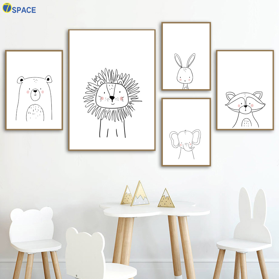 Lion Rabbit Bear Elephant Raccoon Wall Art Canvas Painting Nordic Posters And Prints Nursery Wall Pictures Baby Kids Room Decor
