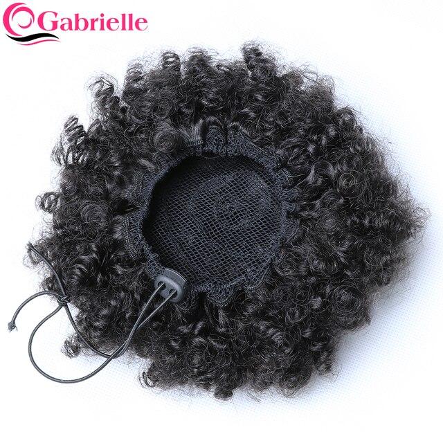 ガブリエル 4B 4C ブラジルアフロ変態カーリー毛巾着ポニーテール 8 インチ人毛自然な色の Remy 毛延長