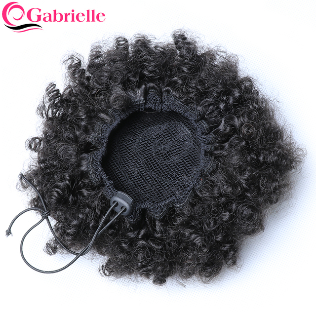 Gabrielle 4B 4C Brazilian Afro Kinky Curly Hair Drawstring Ponytail 8 inch Clip in Human Hair Natural Color Remy Hair Extensions