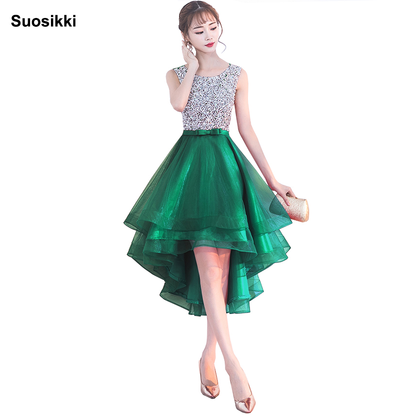 Sexy Sleeveless Short Front Long Back Lacing Evening Dress Beading Bride Banquet Formal Party Gowns Plus Size Dress 2018
