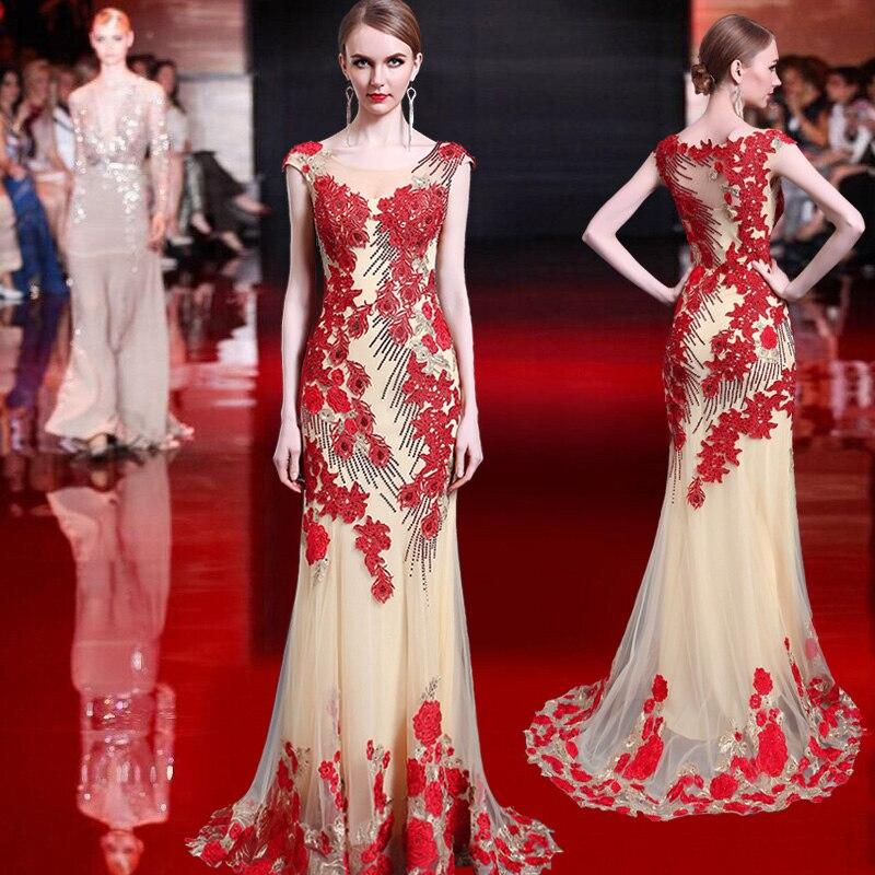 2018 67 Red Pour Voile Cérémonie Robes Date Z Maxi Soirées Gala Parti De Longue Élégant Proms Femmes Robe Diamants Gratuating Up wqUIv