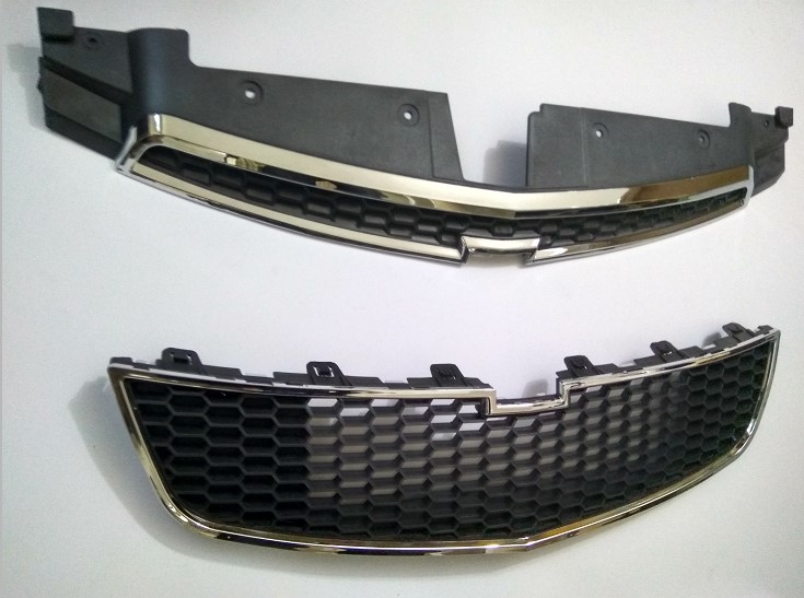 Fit For Chevy Cruze 2009-2014 Silver Upper Lower Front Bumper Mesh Grille Grill 2PCS