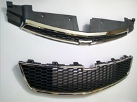 Fit For Chevy Cruze 2009 2014 Silver Upper Lower Front Bumper Mesh Grille Grill 2PCS