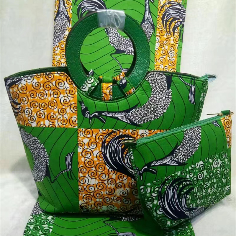 Fashion African Wax Prints Fabric And Woman Bag font b Set b font Latest Style African