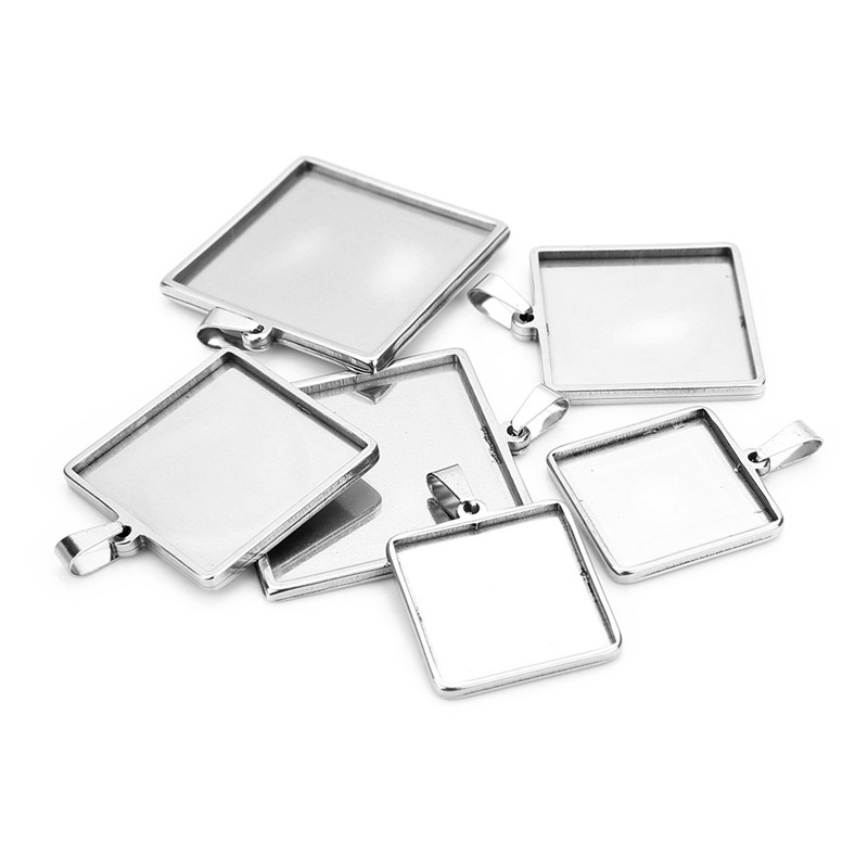 Sauvoo 2pcs/lot Stainless Steel Cabochon Settings Square 20 25 30mm Bezel Tray Blanks Pendants With Loop For DIY Jewelry Making