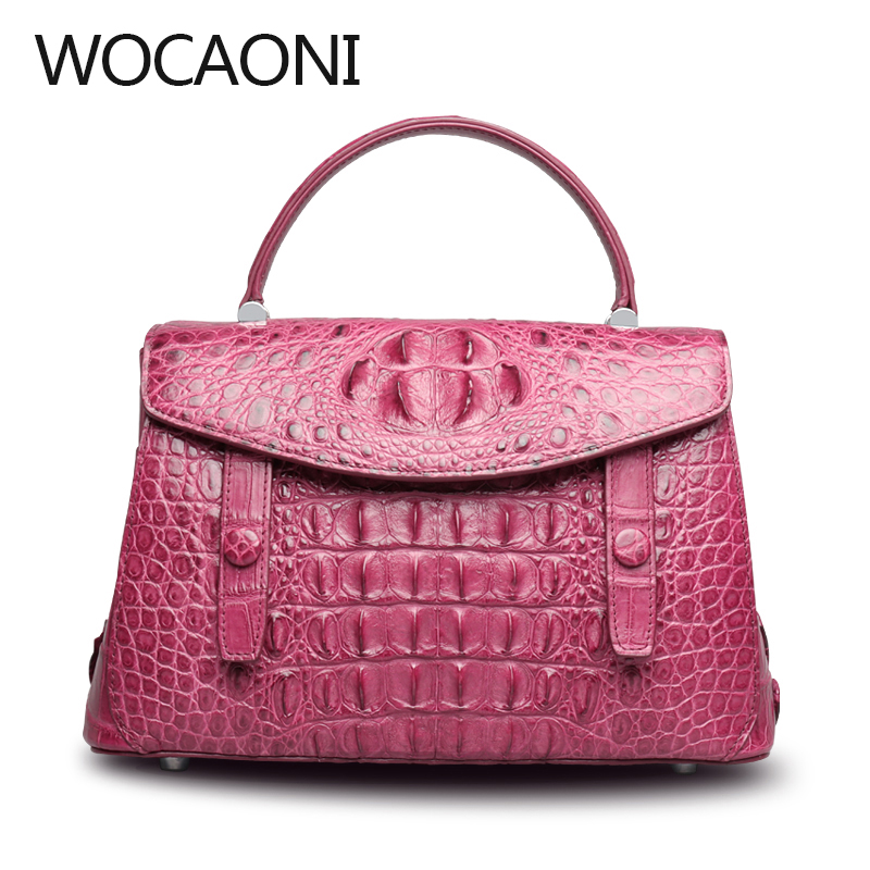 wocaoni 2018 The new crocodile handbag leather shoulder bag handbag female crocodile bag delin foreign female bag bag handbag shoulder aslant crocodile grain lady handbags package a undertakes the new trend