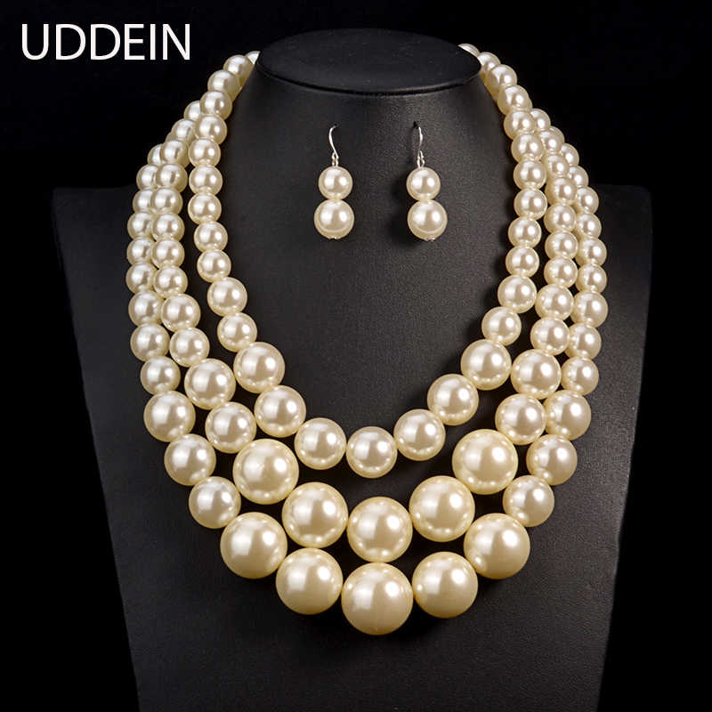 UDDEIN Big Pearl Jewelry Bridal Necklace Sets Vintage Statement Choker Collar Wedding Accessory Multi layer Beads Jewelry Set