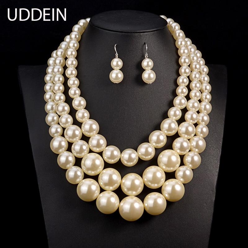 UDDEIN Big Pearl Jewelry...