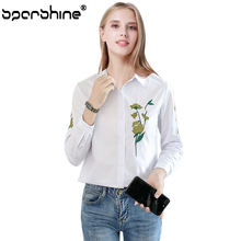 SPARSHINE Blusas Mujer De Moda 2017 Floral Embroidery Shirt Women Blouse Fashion High Quality Tops For Ladies