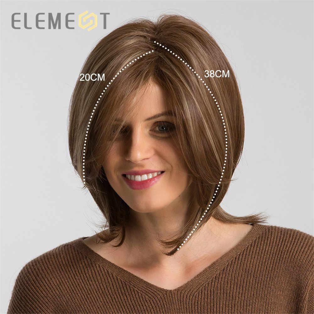 Elemen Pendek Sintetis Lurus Bob Wig dengan Sisi Fringe Campuran Coklat Warna Alami Rambut Tahan Panas Pesta Wig untuk Wanita