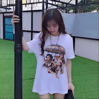 Early spring new fun print short sleeved t shirt female loose ins super fire bottoming shirt women oversized top