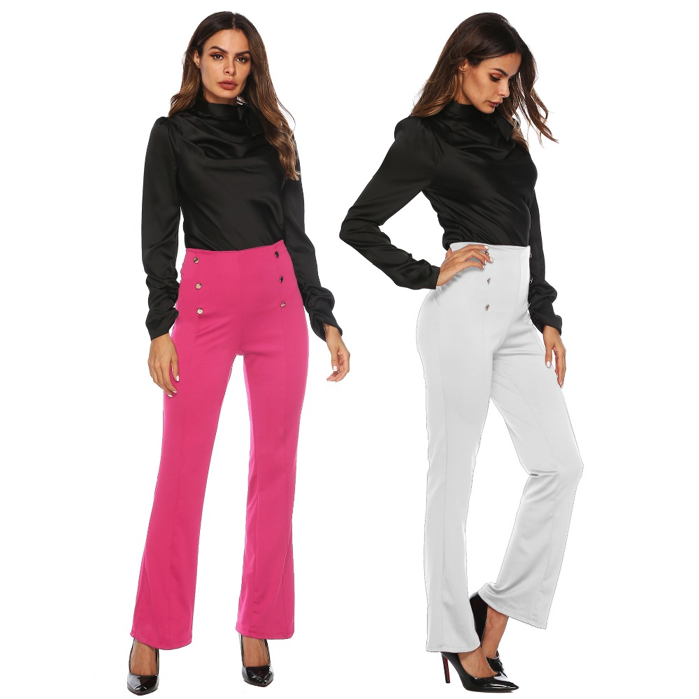 PGSD Fashion Women Clothes Slimming double-breasted broad-legged casual trousers Button decoration Micro trumpet Pants female