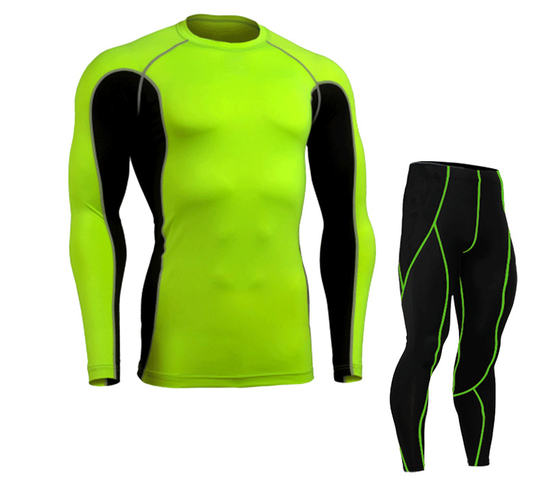 2016 Long Sleeve Fitness Exercise sets Compression font b shirts b font Tights set Weightlifting Bodybuilding