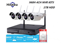 Hiseeu Wireless CCTV System 960P 4ch Powerful Wireless NVR KITS 1TB HDD IP CameraCCTV Home Security