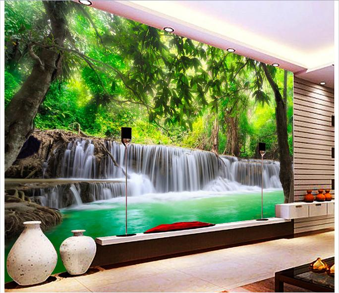 Customized 3D wallpaper 3d wall murals wallpaper 3 d hd jungle river waterfall adornment picture 3d sitting room photo wallpaper цена