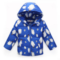 New Fashion Design 2016 Winter Down Coat Cute Animal Printed Zipper Hooded Down Jacket Girls Boys Thickening Unisex Coat 3 Color