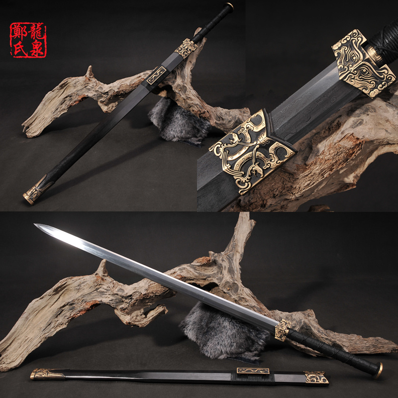 Chinese Sword Imiated Damascus Steel Blade Metal Craft Home Decoration Fungshui Ornament Mascot Display