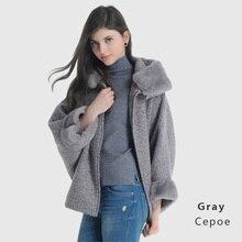 LADYVOSTOK Hooded Fur Collar Zipper Bat Sleeve Short Mink Fur Splice Women Winter Jacket Wool Coat Sheepskin Coat GY842(China)