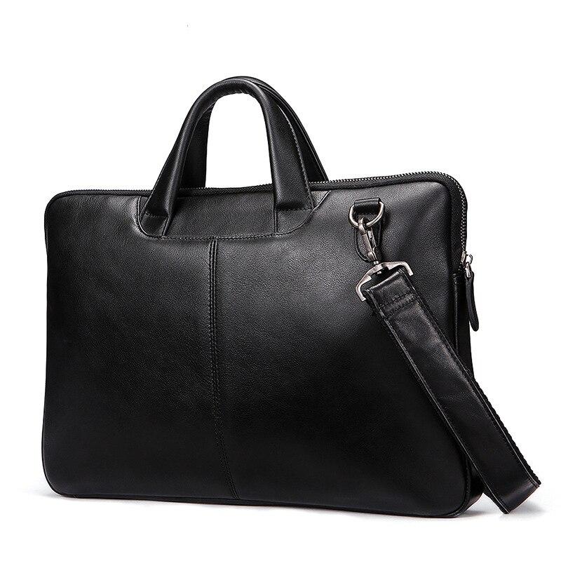 2019 Tasche Tragbare Freizeit Schulter Tasche Männlichen Echtem Leder Tasche Männer Aktentasche Für Computer/business Laptop QualitäTswaren