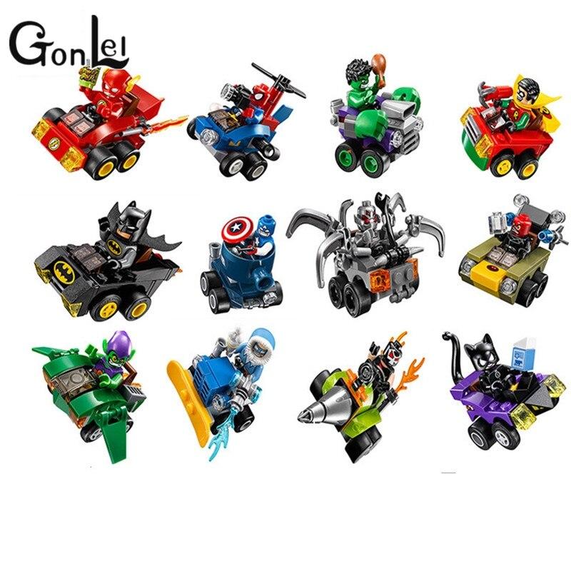 GonLeI Building Blocks 12Pcs Super Heroes Avengers Batman Joker Motorcycle Spaceship War Car Bricks kids