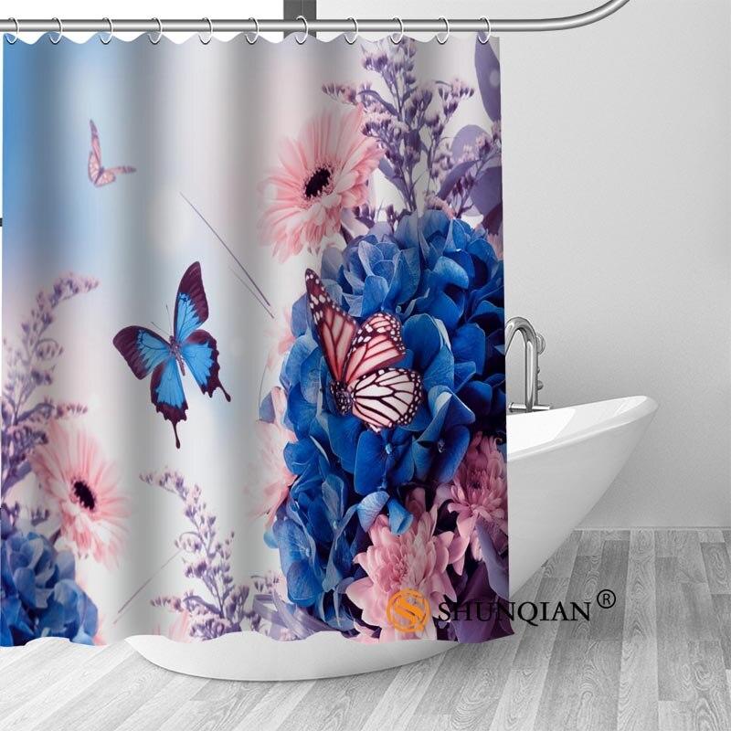 High Quality Custom  Flower And Butterfly Shower Curtain Hooks Mildew Resistant Bath Curtain Bathroom Decor