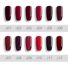 7ml Wine Soak Off Nail Gel Polish UV/LED Cured Varnish Red Series 12 Colors stamping polish oje vernis a ongle nagellak holograp