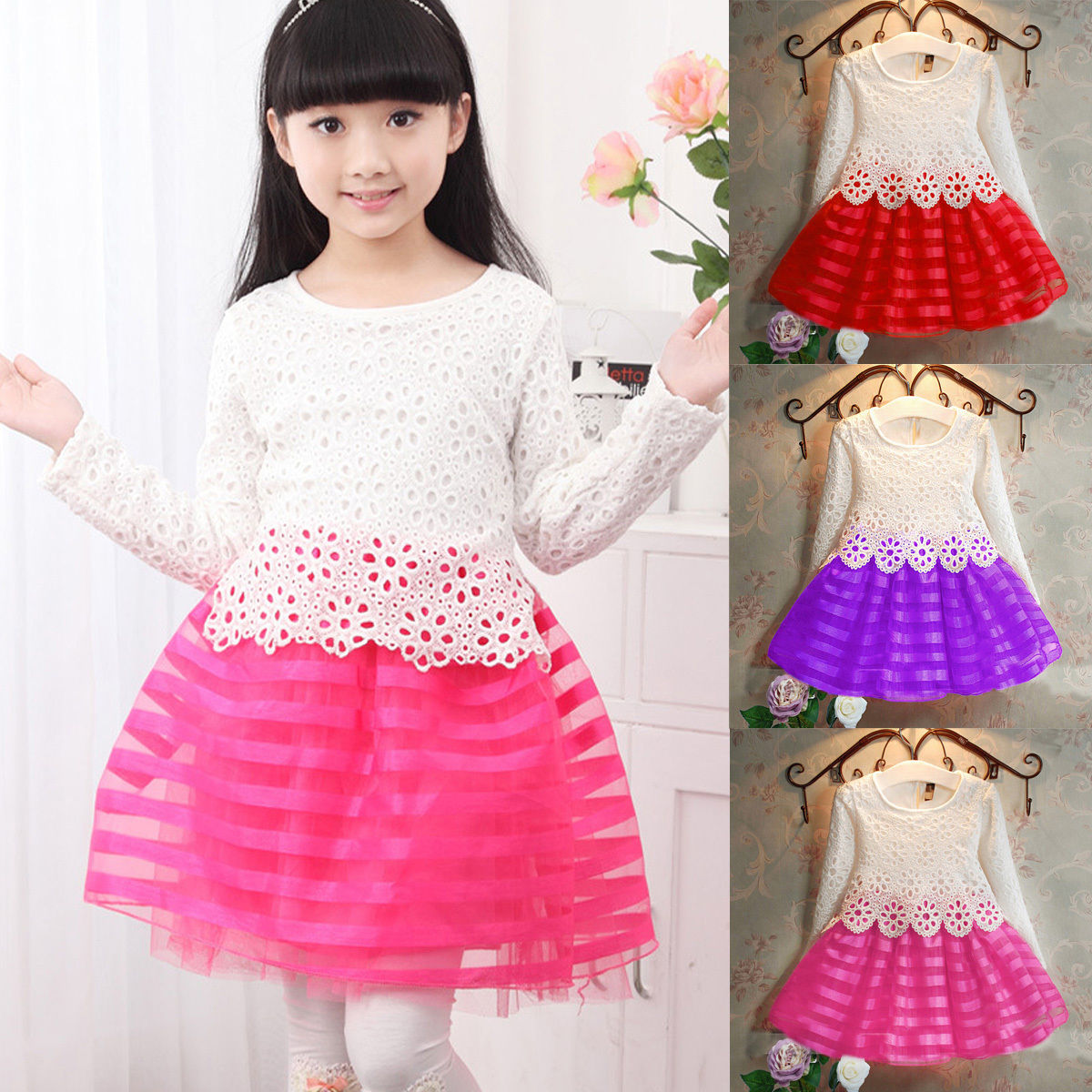 Beautiful crochet dresses for kids trendy - Spring Baby Kids Girls Dress Children Crochet Lace Long Sleeve Striped Ball Gown Patchwork Autumn Dress