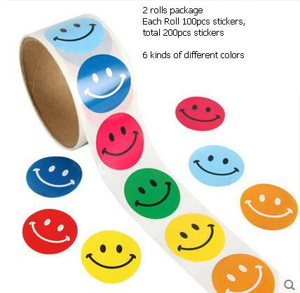 200pcs/2 rolls children cartoon sticker for kids lovely award 3d sticker for scrapbooking round emoji smile face sticker adesivo