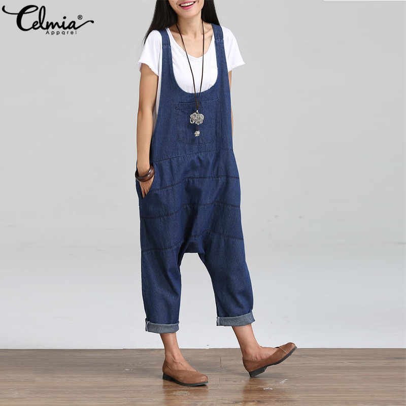 78db99b3c37 ... Plus Size Celmia Rompers Women Jumpsuit Denim Oversize Overalls Solid  Sleeveless Pockets Harem Pants Casual Dungarees ...