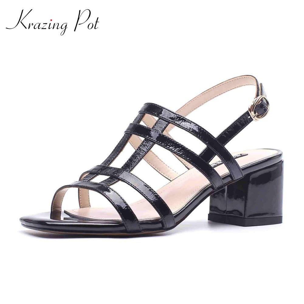 Krazing pot shoes brand summer buckle starp open toe hollow women sandals runway gradiator thick high