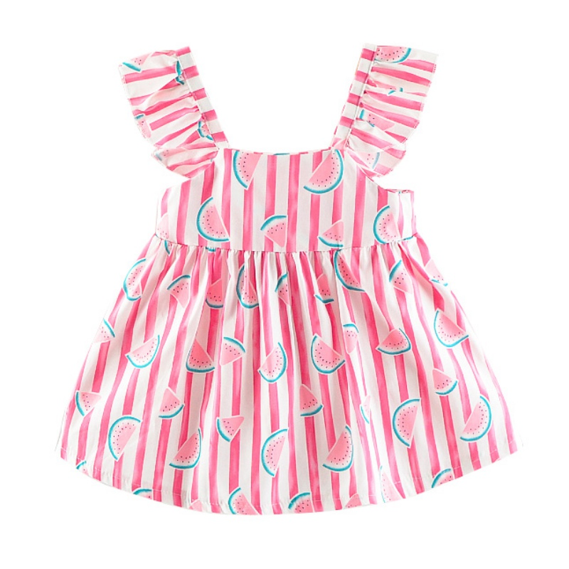 New Style Summer Girl Dress Child Watermelon Print Lace Sleeve Princess Dress Sweet children\s Dress Comfortable For DressingNew Style Summer Girl Dress Child Watermelon Print Lace Sleeve Princess Dress Sweet children\s Dress Comfortable For Dressing
