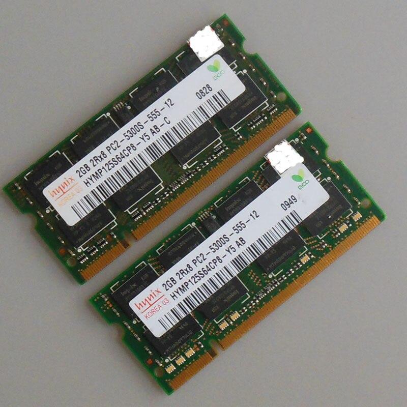 Hynix 4 GB (2X2 GB) PC2-5300S DDR2-667 667 Mhz Laptop-speicher CL5.0 SODIMM Notebook RAM Nicht-Ecc 200pin Niedriger dichte Voll getestet