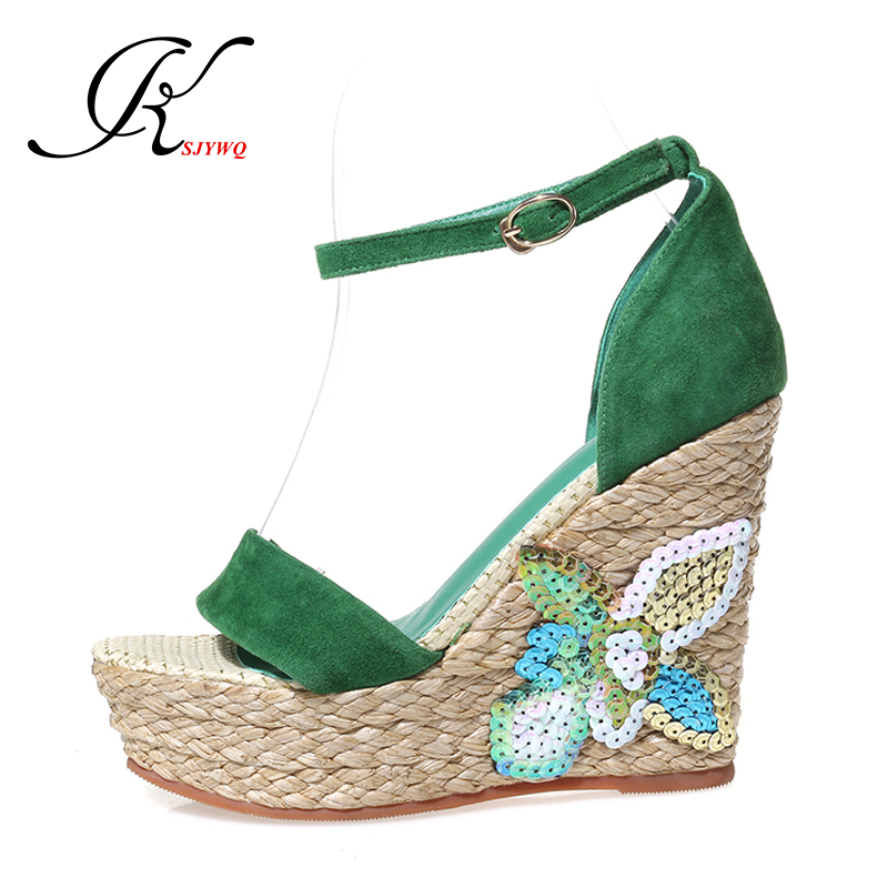 KSJYWQ 2017 Summer style Women sandals 12 cm super high heels Green color wedges Sexy ladies Party shoes Woman Box Packing 659