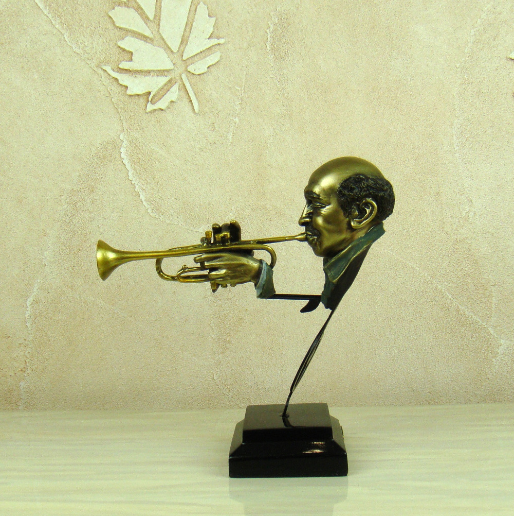 Abstract Trumpeter Bust Sculpture Handmade Polyresin Cornet Player ...