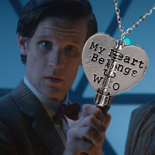 Dr Who Heart My Heart Belongs to Who With Sonic Screwdriver Pendant Necklace(China)