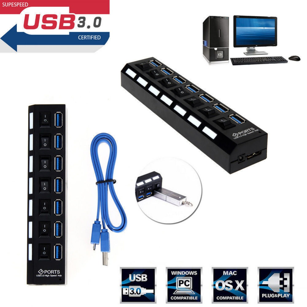 New 7-Port USB 2.0 Multi Charger Hub High Speed Adapter ON//OFF Switch Laptop//PC