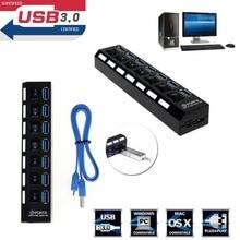 7-Порты и разъёмы USB 2,0 мульти Зарядное устройство Hub + высокоскоростной адаптер кабель сплиттер на переключатель включения/выключения для ноутбука/ПК
