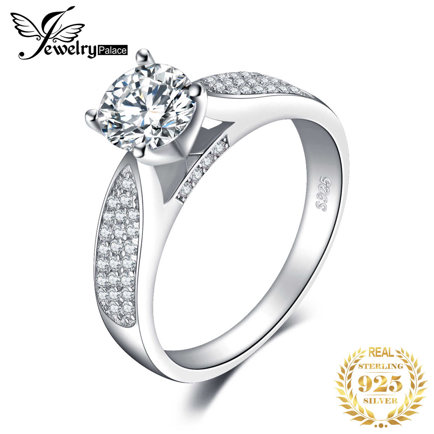 JewelryPalace Solitaire Cubic Zirconia Engagement Rings Authentic 925 Sterling Silver Promise Rings Anniversary Gifts for Women