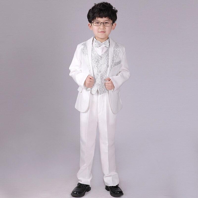 Boy Formal Dress Tuxedo Piano Performance Costume Flower Boys Birthday Wedding Suits 5pcs Jacket + Vest + Shirt + Pant + Tie F59